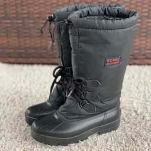 Sorel Tall Nylon Insulated Black Lace Up Toggle Winter Boots Waterproof Womens 7
